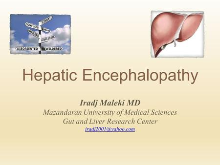 Hepatic Encephalopathy Iradj Maleki MD Mazandaran University of Medical Sciences Gut and Liver Research Center