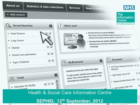 Health & Social Care Information Centre SEPHIG: 12 th September, 2012.