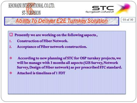 Ability To Deliver E2E Turnkey Solution 03 of 30.
