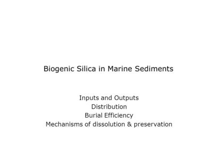 Biogenic Silica in Marine Sediments Inputs and Outputs Distribution Burial Efficiency Mechanisms of dissolution & preservation.