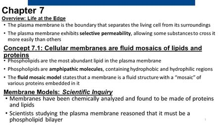 Chapter 7 Overview: Life at the Edge The plasma membrane is the boundary that separates the living cell from its surroundings The plasma membrane exhibits.