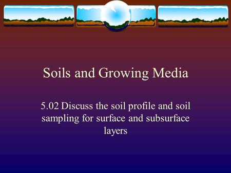 Soils and Growing Media 5.02 Discuss the soil profile and soil sampling for surface and subsurface layers.