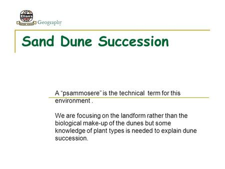 "Geography Sand Dune Succession A ""psammosere"" is the technical term for this environment. We are focusing on the landform rather than the biological make-up."