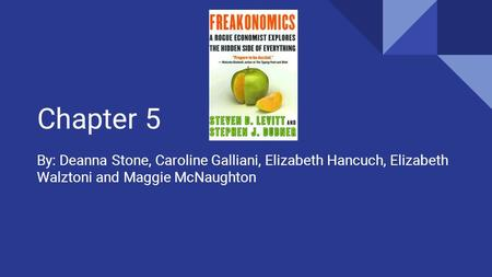 Chapter 5 By: Deanna Stone, Caroline Galliani, Elizabeth Hancuch, Elizabeth Walztoni and Maggie McNaughton.