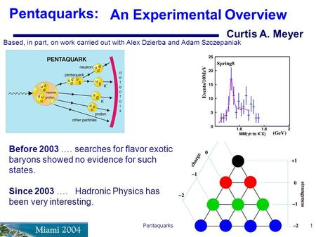 Pentaquarks1 Curtis A. Meyer Pentaquarks: An Experimental Overview Based, in part, on work carried out with Alex Dzierba and Adam Szczepaniak Before 2003.