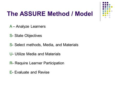 The ASSURE Method / Model A – Analyze Learners S- State Objectives S- Select methods, Media, and Materials U- Utilize Media and Materials R- Require Learner.