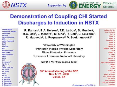 Demonstration of Coupling CHI Started Discharges to Induction in NSTX R. Raman 1, B.A. Nelson 1, T.R. Jarboe 1, D. Mueller 2, M.G. Bell 2, J. Menard 2,