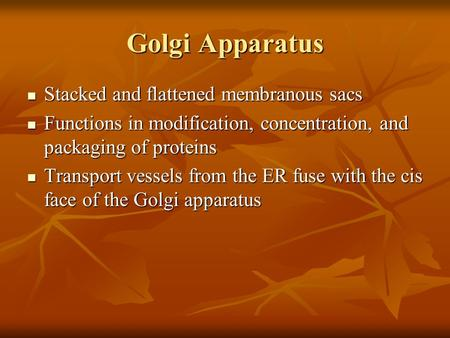 Golgi Apparatus Stacked and flattened membranous sacs Stacked and flattened membranous sacs Functions in modification, concentration, and packaging of.