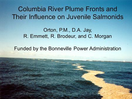 Columbia River Plume Fronts and Their Influence on Juvenile Salmonids Orton, P.M., D.A. Jay, R. Emmett, R. Brodeur, and C. Morgan Funded by the Bonneville.