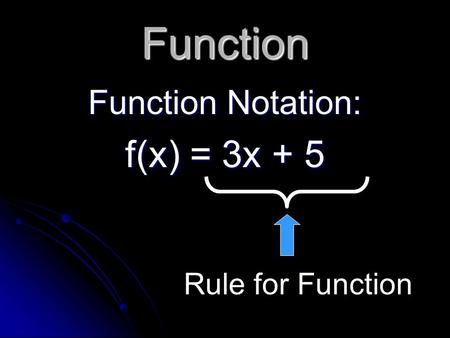 Function Function Notation: f(x) = 3x + 5 Rule for Function.