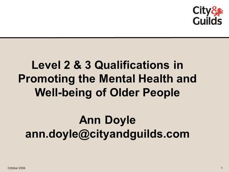 November 20071 October 20081 Level 2 & 3 Qualifications in Promoting the Mental Health and Well-being of Older People Ann Doyle
