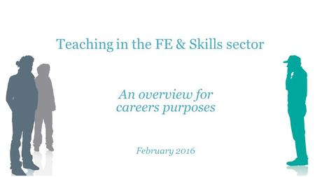 Teaching in the FE & Skills sector An overview for careers purposes February 2016.