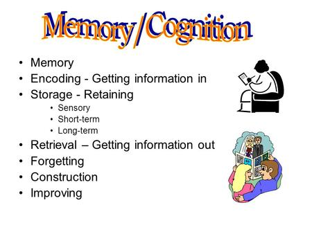 Memory/Cognition Memory Encoding - Getting information in