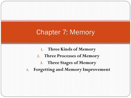 1. Three Kinds of Memory 2. Three Processes of Memory 3. Three Stages of Memory 4. Forgetting and Memory Improvement Chapter 7: Memory.