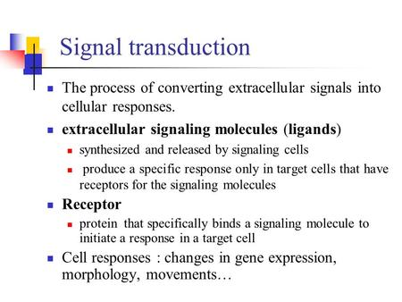 Signal transduction The process of converting extracellular signals into cellular responses. extracellular signaling molecules (ligands) synthesized and.