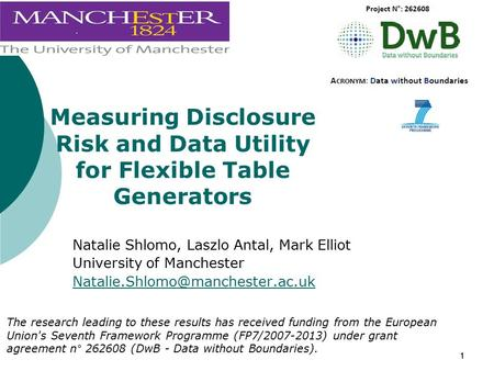 11 Measuring Disclosure Risk and Data Utility for Flexible Table Generators Natalie Shlomo, Laszlo Antal, Mark Elliot University of Manchester