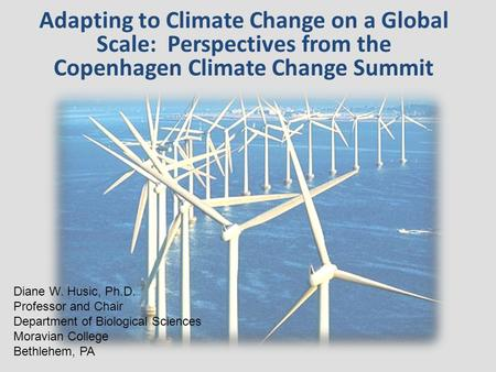 Adapting to Climate Change on a Global Scale: Perspectives from the Copenhagen Climate Change Summit Diane W. Husic, Ph.D. Professor and Chair Department.