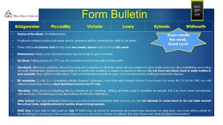 Form Bulletin BridgewaterPiccadillyVictoriaLowryRylandsWhitworth Theme of the Week: EU Referendum. Pupils who missed exams last week due to absence will.
