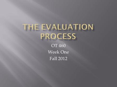 OT 460 Week One Fall 2012.  Evaluation Process:  What client wants and needs to do  Determination of what the client can do and has done  Identify.