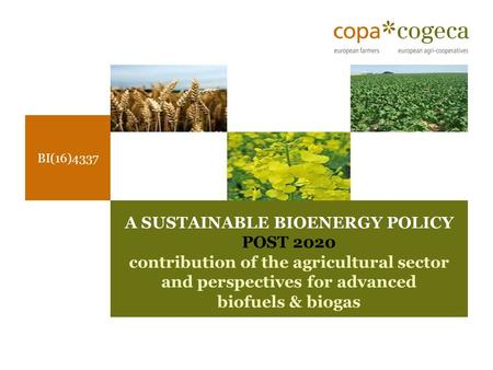 BI(16)4337 A SUSTAINABLE BIOENERGY POLICY POST 2020 contribution of the agricultural sector and perspectives for advanced biofuels & biogas.