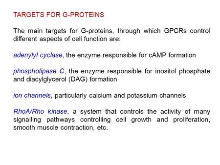 TARGETS FOR G-PROTEINS The main targets for G-proteins, through which GPCRs control different aspects of cell function are: adenylyl cyclase, the enzyme.