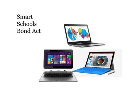 Smart Schools Bond Act. What is the SMART Schools Bond? SMART Schools Bond Act was approved in November, 2014 Could be used for: – School Connectivity.