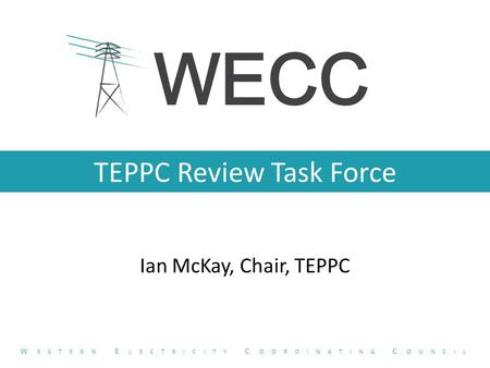 TEPPC Review Task Force Ian McKay, Chair, TEPPC W ESTERN E LECTRICITY C OORDINATING C OUNCIL.