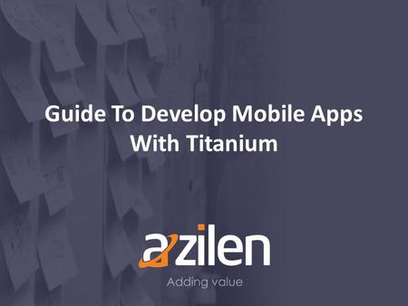 Guide To Develop Mobile Apps With Titanium. Agenda Overview Installation of Platform SDKs Pros of Appcelerator Titanium Cons of Appcelerator Titanium.