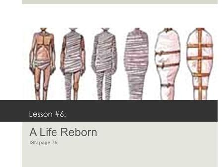 Lesson #6: A Life Reborn ISN page 75. The Afterlife  Egyptians had a positive view of life after death.  They believed that life in the next world would.