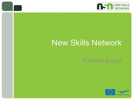 New Skills Network Thematic project. Project details  Network coordinated by the Icelandic National Agency for EU´s Lifelong Learning Programme  15.