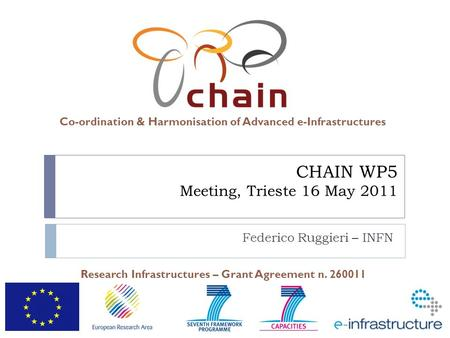 Co-ordination & Harmonisation of Advanced e-Infrastructures Research Infrastructures – Grant Agreement n. 260011 CHAIN WP5 Meeting, Trieste 16 May 2011.