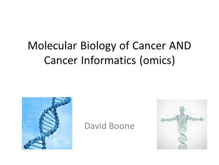 Molecular Biology of Cancer AND Cancer Informatics (omics) David Boone.