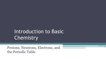 Introduction to Basic Chemistry Protons, Neutrons, Electrons, and the Periodic Table.