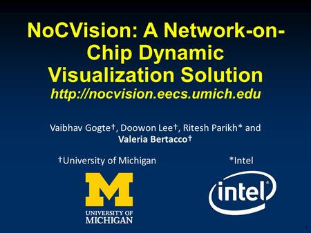 NoCVision: A Network-on- Chip Dynamic Visualization Solution  Vaibhav Gogte†, Doowon Lee†, Ritesh Parikh* and Valeria Bertacco†