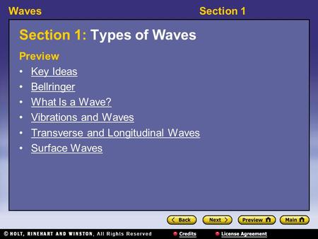 WavesSection 1 Section 1: Types of Waves Preview Key Ideas Bellringer What Is a Wave? Vibrations and Waves Transverse and Longitudinal Waves Surface Waves.