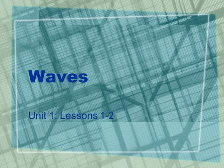 Waves Unit 1: Lessons 1-2. What are waves? A wave is a disturbance that transfers energy from one place to another A medium is the material through which.