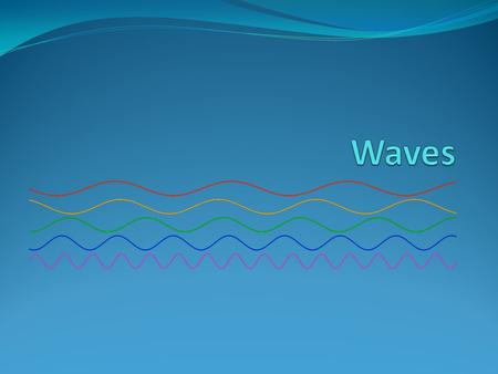 What are Waves? A wave is a disturbance that transfers energy from place to place. The material through which a wave travels is called a medium. Ex: Gases.