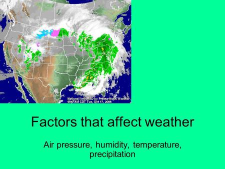 Factors that affect weather Air pressure, humidity, temperature, precipitation.