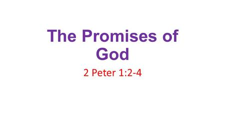 The Promises of God 2 Peter 1:2-4. 2 Pet. 1:2-4 2 Grace and peace be multiplied unto you through the knowledge of God, and of Jesus our Lord, 3 According.