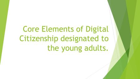 Core Elements of Digital Citizenship designated to the young adults.