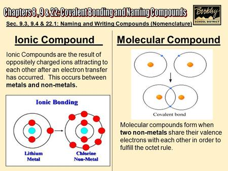 Ionic Compound Molecular Compound Ionic Compounds are the result of oppositely charged ions attracting to each other after an electron transfer has occurred.