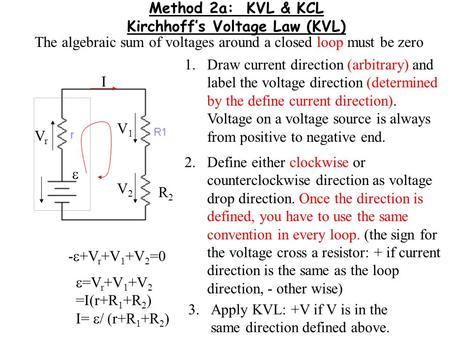 Method 2a: KVL & KCL Kirchhoff's Voltage Law (KVL)