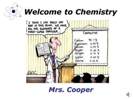 Welcome to Chemistry Mrs. Cooper. About Me Mrs. Michelle Cooper Hartselle with husband and 8 year old daughter Science Degree in Chemistry/Biology (1987)