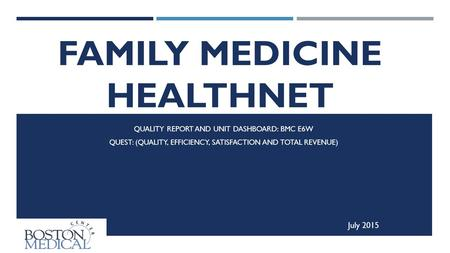 FAMILY MEDICINE HEALTHNET INPATIENT SERVICE QUALITY REPORT AND UNIT DASHBOARD: BMC E6W QUEST: (QUALITY, EFFICIENCY, SATISFACTION AND TOTAL REVENUE) July.