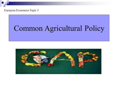Common Agricultural Policy European Economics Topic 3.