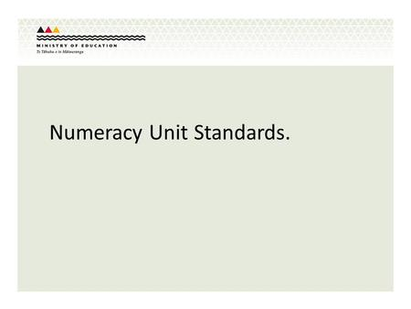 Numeracy Unit Standards.. Numeracy Requirements for NCEA Level 1 The numeracy requirement for NCEA Level 1 changes from the current 8 credits to 10 credits.