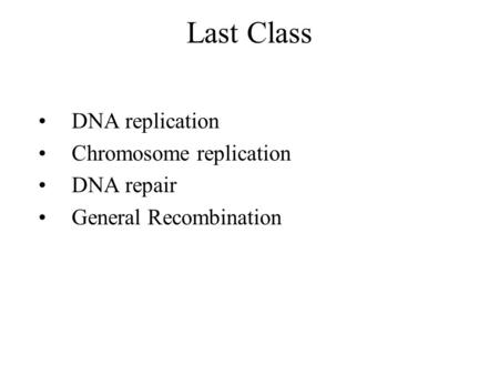 Last Class DNA replication Chromosome replication DNA repair General Recombination.