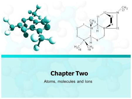 Chapter Two Atoms, molecules and Ions. Chapter Two / Atoms, molecules and Ions Chemical Formula Molecular FormulaEmpirical Formula It's a formula shows.