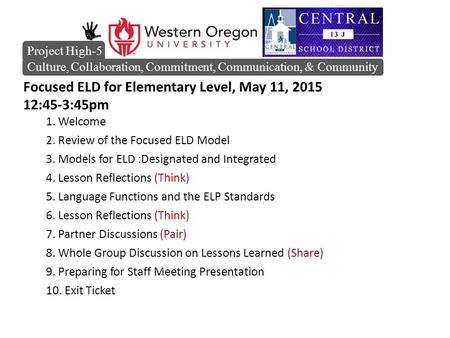 Focused ELD for Elementary Level, May 11, 2015 12:45-3:45pm 1. Welcome 2. Review of the Focused ELD Model 3. Models for ELD :Designated and Integrated.