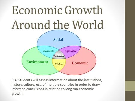 Economic Growth Around the World C-4: Students will assess information about the institutions, history, culture, ect. of multiple countries in order to.